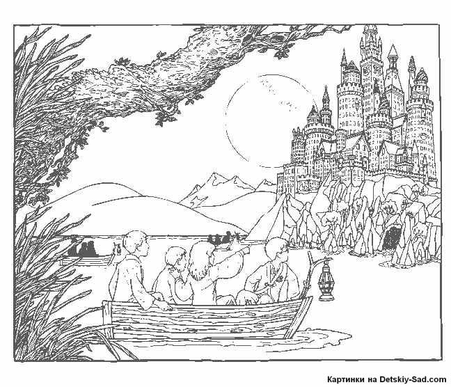 раскраска гарри поттер плывет на лодке к замку все для