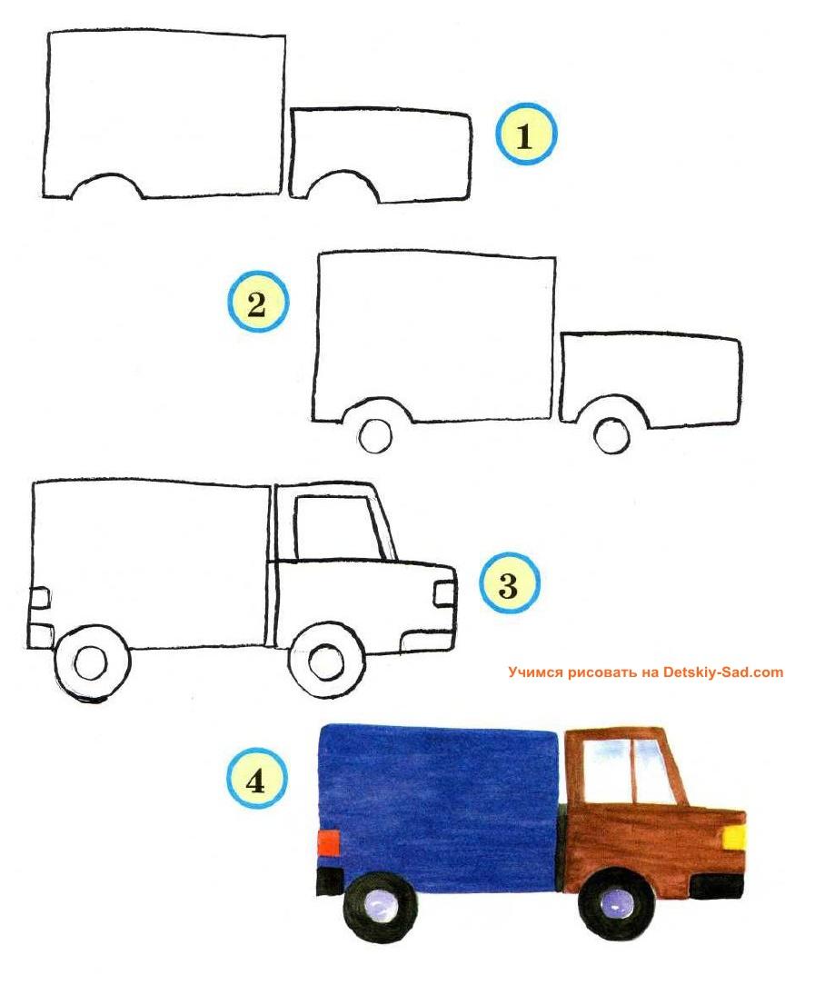 Нарисовать грузовик ребенку