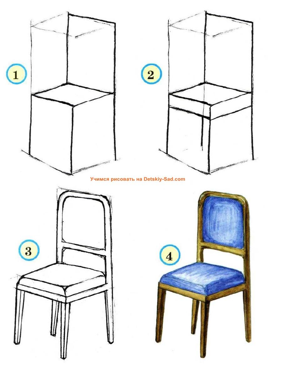 Рисуем поэтапно стул