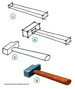 Как нарисовать молоток