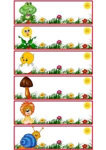 Жабка, солнце, цыпленок, грибок, львенок, улитка