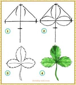 Как нарисовать лист земляники