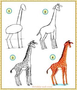 Нарисовать ребенку жирафа