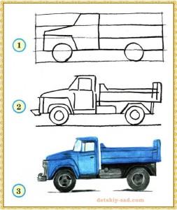 Как нарисовать грузовую бортовую машину