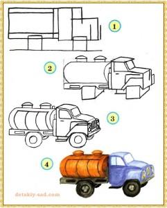 Как нарисовать машину молоковоз