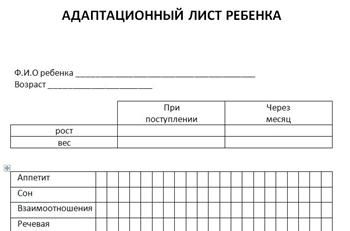 Адаптационный лист ребенка (бланк) для детского сада