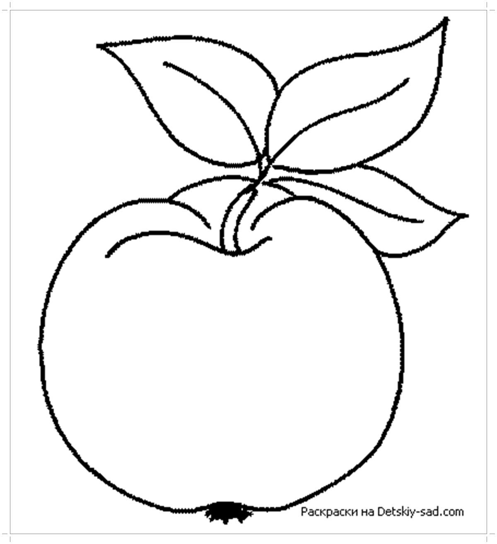 Яблоко с листочками раскраска - Все для детского сада