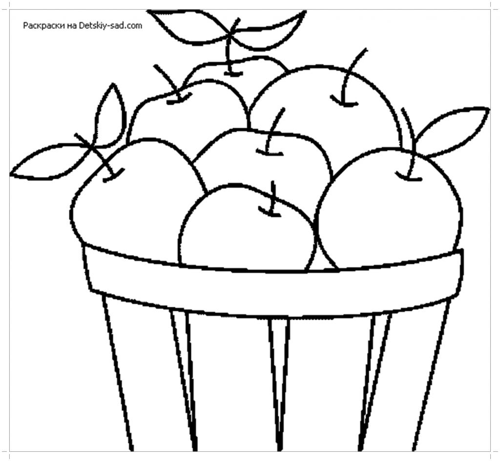 Яблоки в корзине раскраска - Все для детского сада