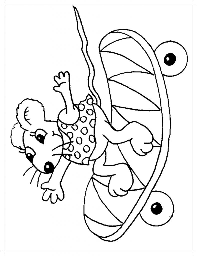 Мышка на скейте раскраска - Все для детского сада