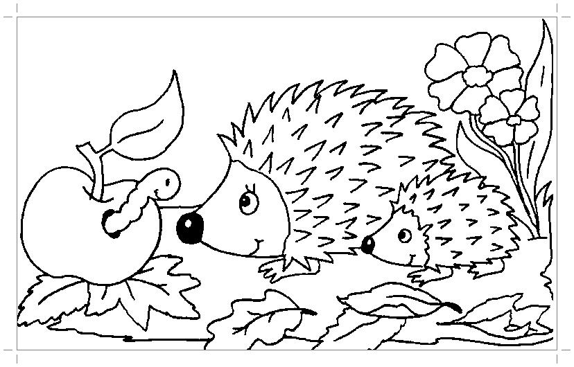 Скачать раскраску ежика - Все для детского сада