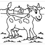 Картинка корова для детей раскраска