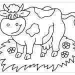Корова на лугу раскраска
