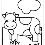 Корова раскраска для малышей