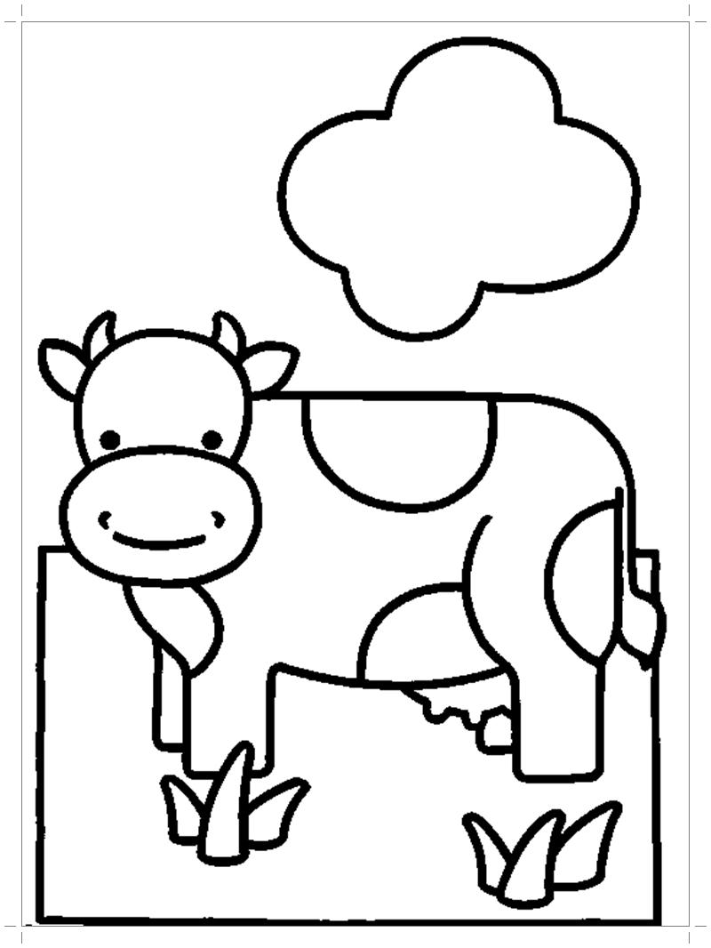 Корова раскраска для малышей - Все для детского сада