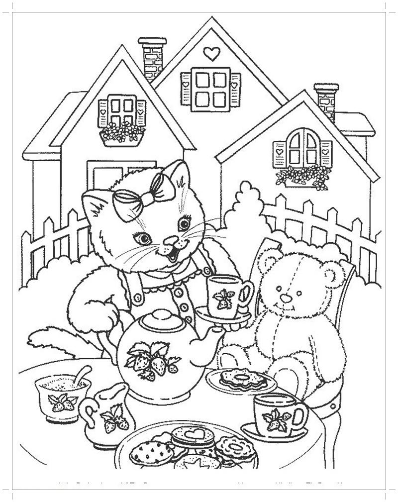 Раскраска в гостях у кошки - Все для детского сада