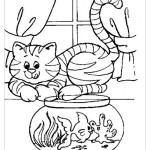 Кошка картинка раскраска