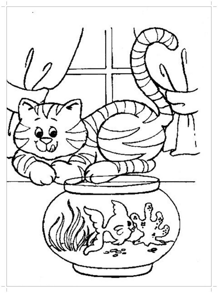 Кошка картинка раскраска - Все для детского сада