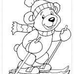 Медвежонок на лыжах раскраска