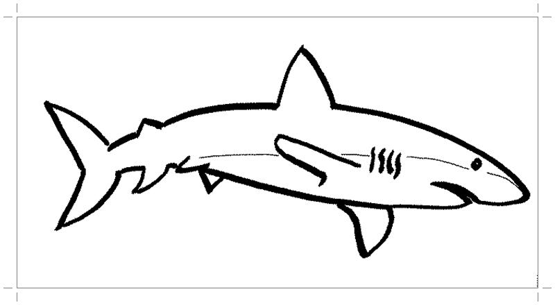 Акула картинка раскраска - Все для детского сада
