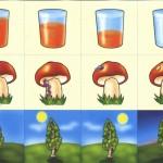 Карточки со стаканом, грибком и солнечным днем для детского сада