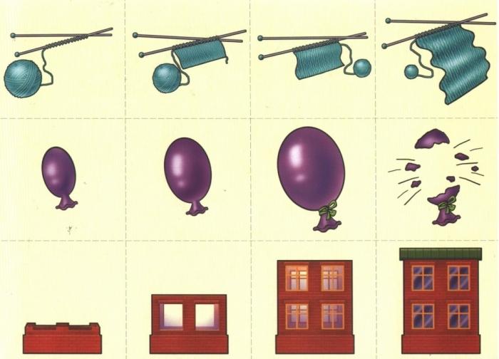 Карточки с мотком, шариком и домом