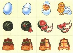 Карточки с яйцом, арбузом и тортиком