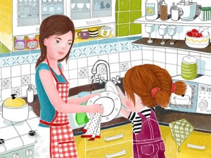 Мама моет тарелку