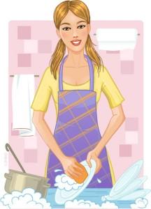 Мама моет посуду на кухне