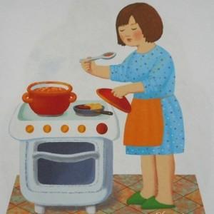 Мама готовит кушать