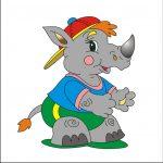 Носорог - клипарт на шкафчик