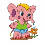 Слоненок - клипарт на шкафчик