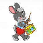 Зайчик с барабаном - клипарт на шкафчик
