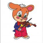 Зайчик со скрипкой - клипарт на шкафчик