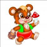 Медвежонок с корзиной - клипарт на шкафчик