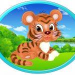 Овальная картинка тигренок