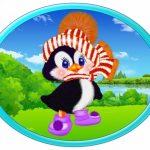 Овальная картинка пингвин