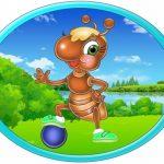 Овальная картинка муравей