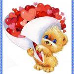 Котенок с букетом сердечек