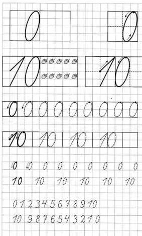 Цифра 10 по клеточкам