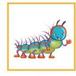 Карточка с гусеницей для дидактической игры