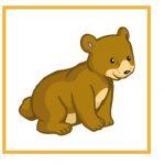 Карточка с медвежонком для дидактической игры