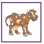 Карточка с коровой для дидактической игры