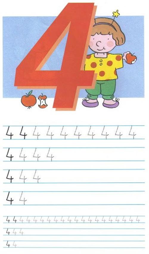 Как писать цифру 4