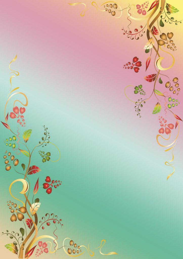 Фон с цветами и ленточками