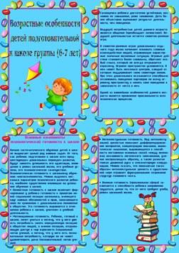 Предварительный просмотр папки передвижки возрастные особенности ребенка 6-7 лет