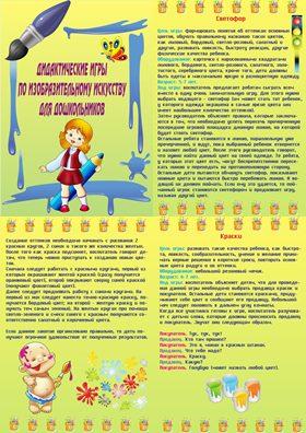 Дидактические игры по ИЗО (папка передвижка)