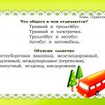 Отличие общественного транспорта - карточка по развитию речи