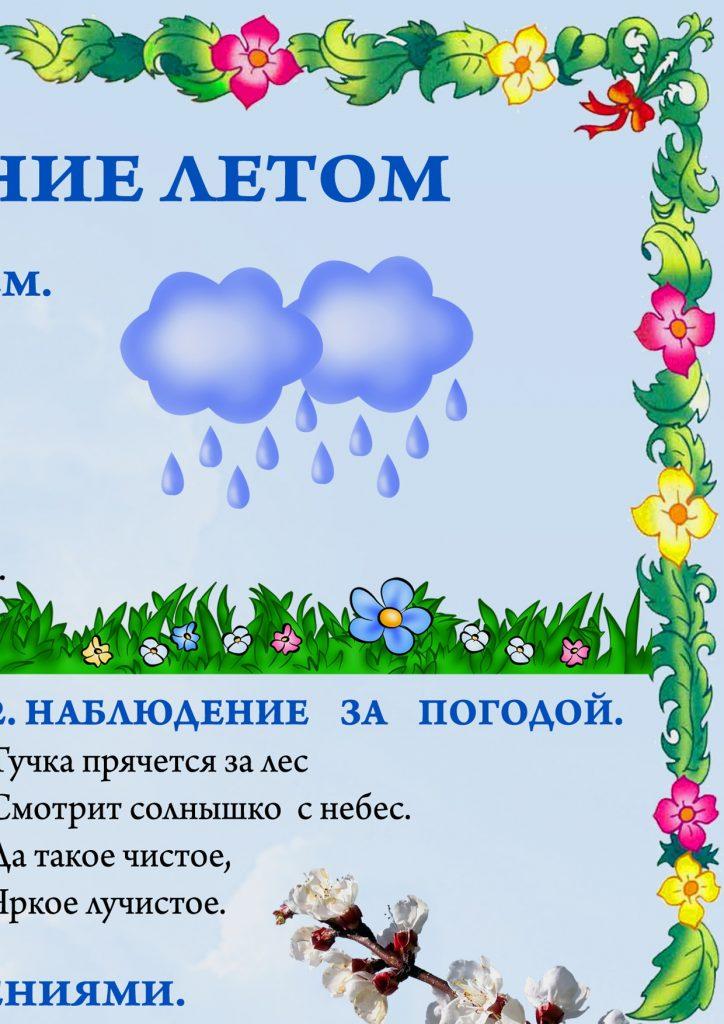 """Фрагмент 2 первого плаката """"Наблюдения летом"""""""