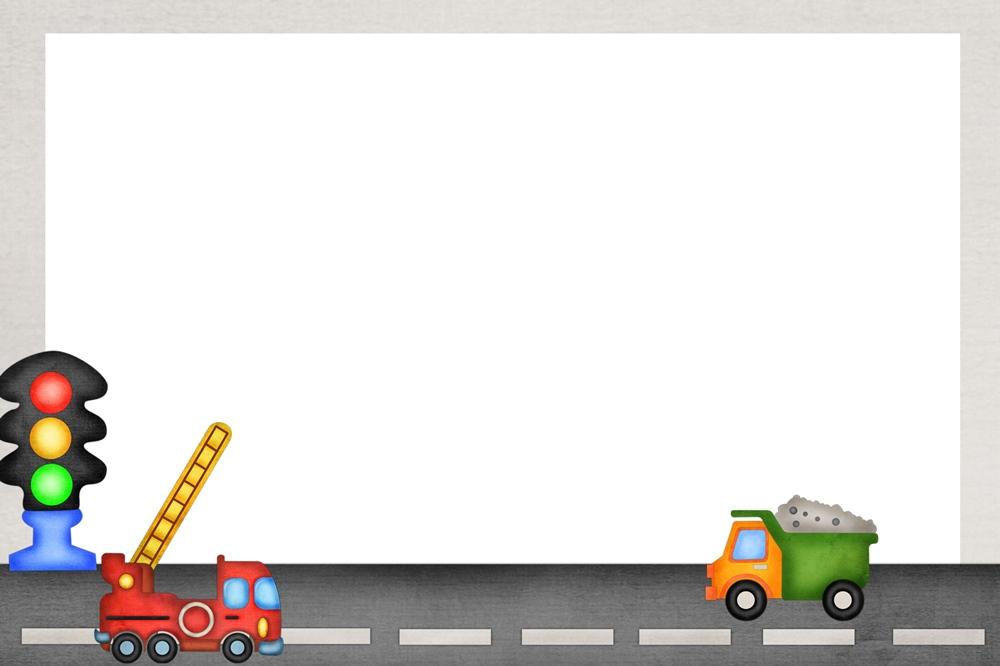 Фон по ПДД с пожарной машиной и грузовиком