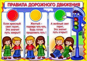 Плакат для изучения светофора в ДОУ